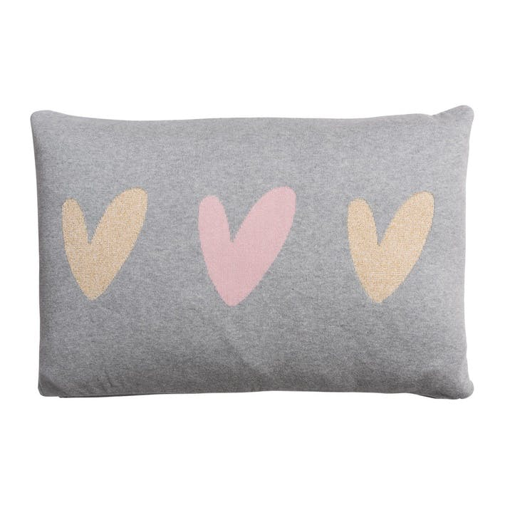 'Hearts' Knitted Statement Cushion