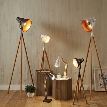 Lincoln Wood & Metal Table Task Lamp; Grey