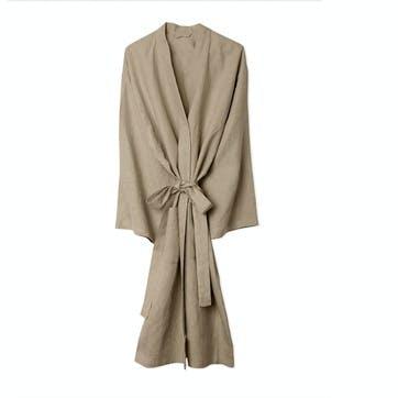 Oatmeal Linen Robe, Medium