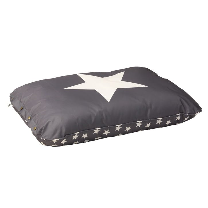 Star Print Water Resistant Cushion, M/L, Grey