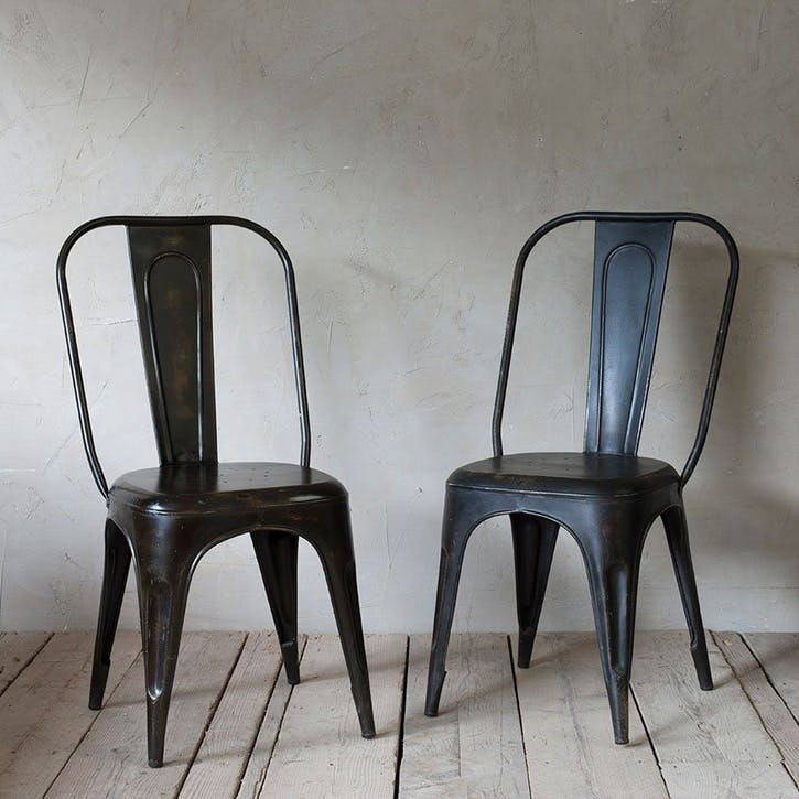 Chari Industrial Chair; Distressed Black