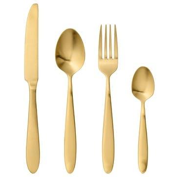Lund Cutlery Set, 16 Pieces, Gold