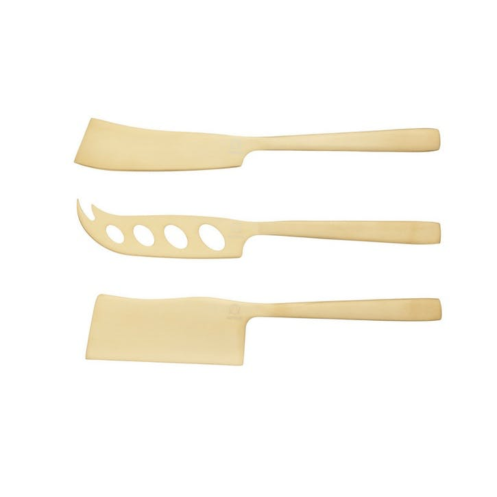 Brass Finish Cheese Knives, Set of 3