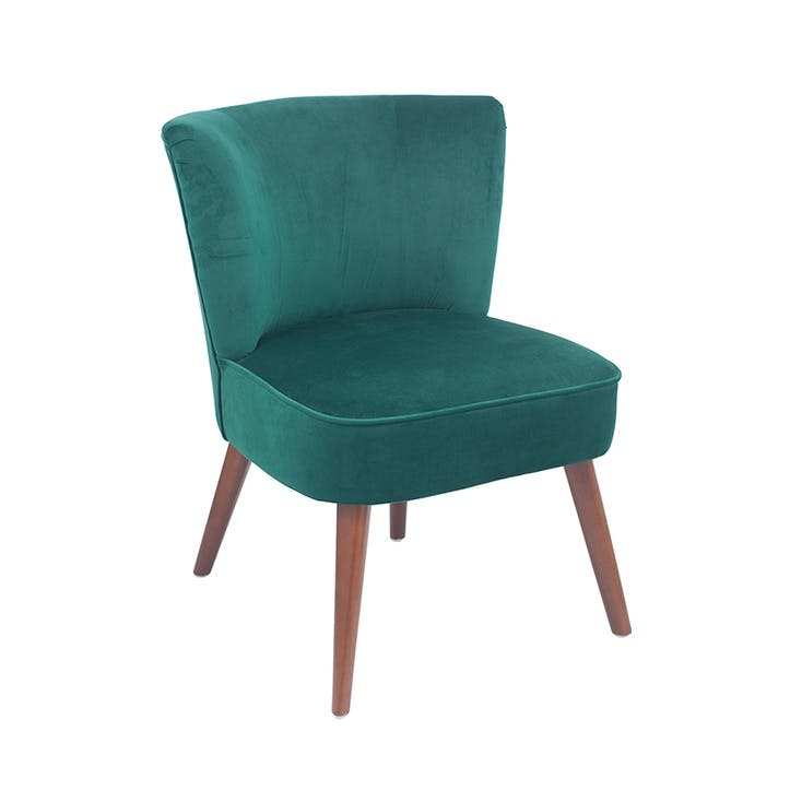 Austen Velvet Cocktail Chair, Forest Green