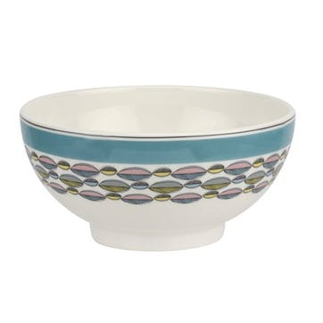 """Westerly Cereal Bowl, Set of Four - 6""""; Turquoise Band"""