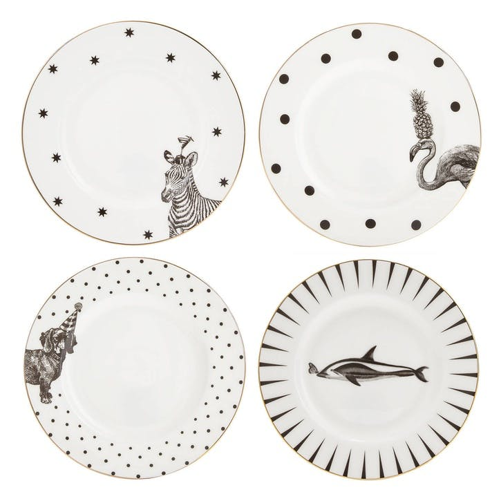 Monochrome Animal Side Plates, Mixed Set of 4