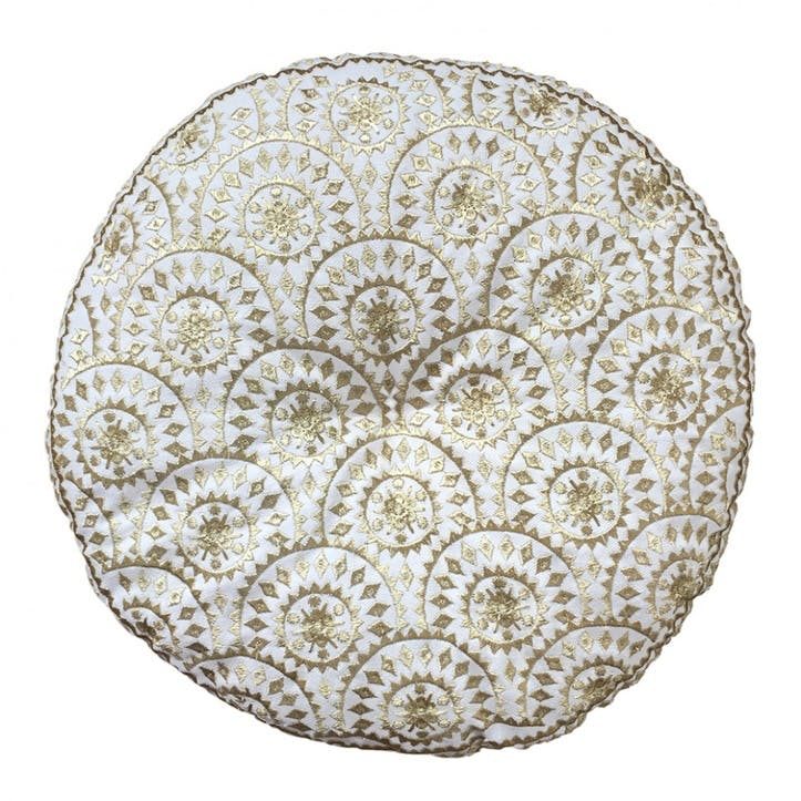 Casablanca Embroidered Cushion Round; Gold Metallic