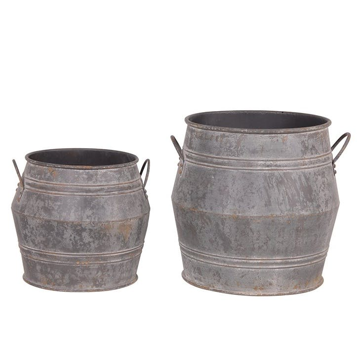 Set of 2 Large Metal Bucket Planters