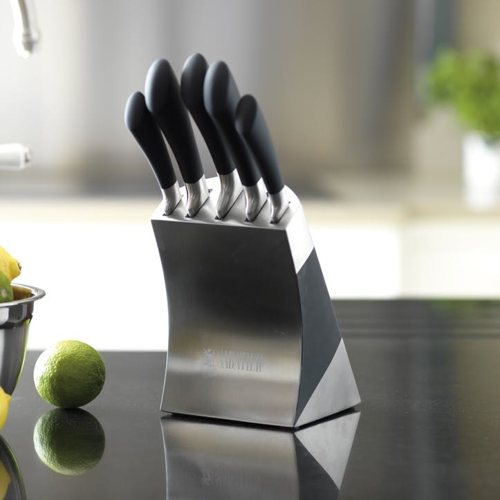 Maison Stainless Steel Knife Block, 5 Pieces