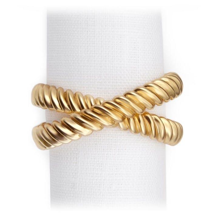 Deco Twist Set of 4 Napkin Rings, Gold