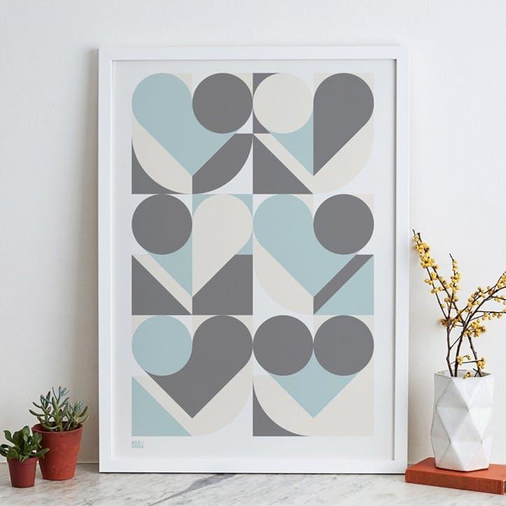 Geometric Heart Screen Print, 50cm x 70cm, Duck Egg Blue/ Grey
