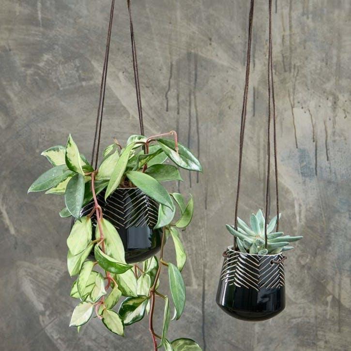 Kavari Ceramic Hanging Planter, Black, Small