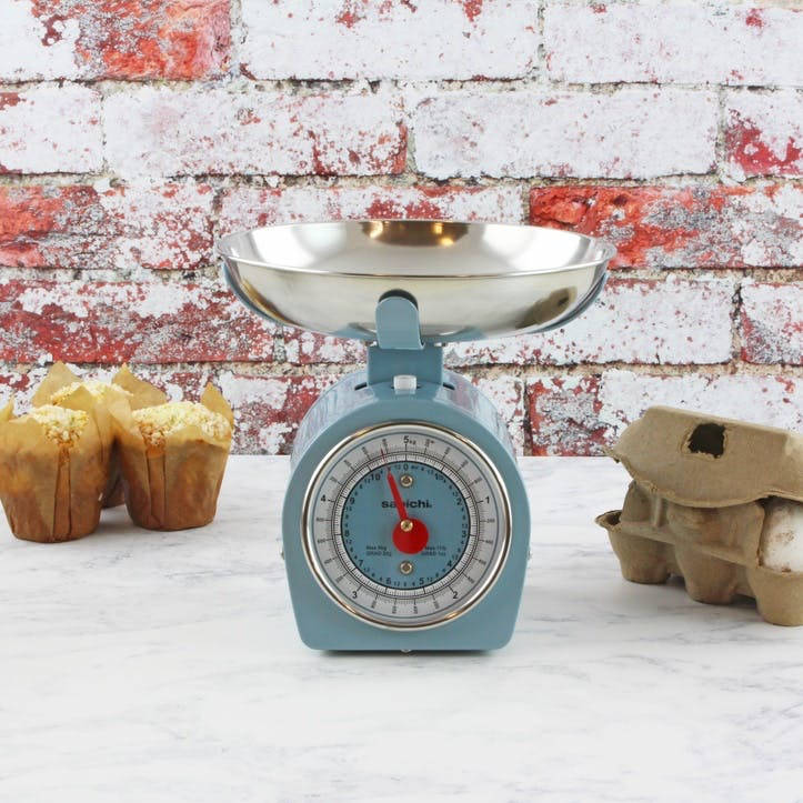Retro Mechanical Kitchen Scale, Blue