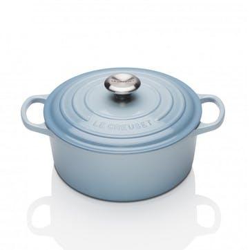 Cast Iron Round Casserole - 22cm; Coastal Blue