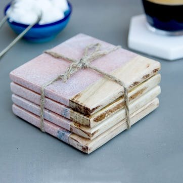 Mango Wood & Marble Square Coasters, Set of 4, Pink