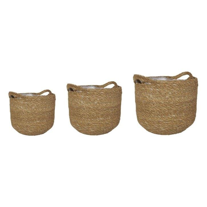 Set Of 3 Natural Woven Basket With Liner, Natural