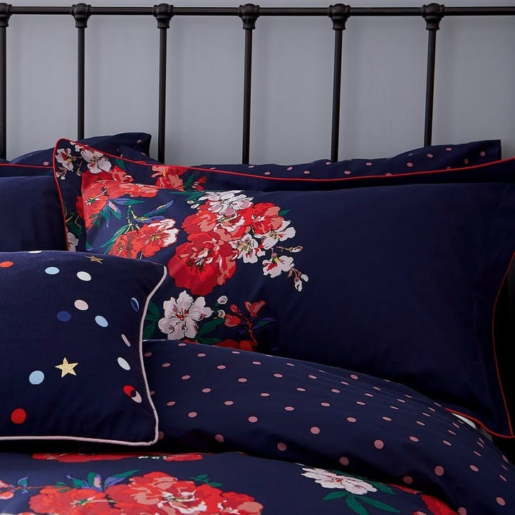 Beau Floral Oxford Pillowcase, French Navy