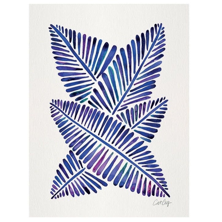 Cat Coquillette Indigo Banana Leaves Canvas - 30 x 40cm