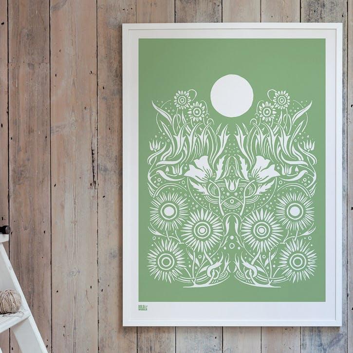 Moonlight Screen Print, 50cm x 70cm, Light Sage