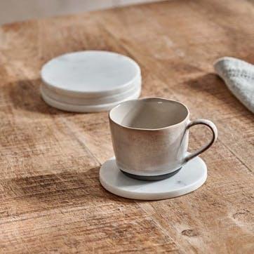 Esa Marble Coasters, Set of 4, White