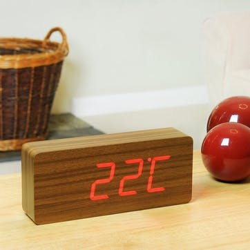 Slab Click Clock Teak/ Red LED, 21cm