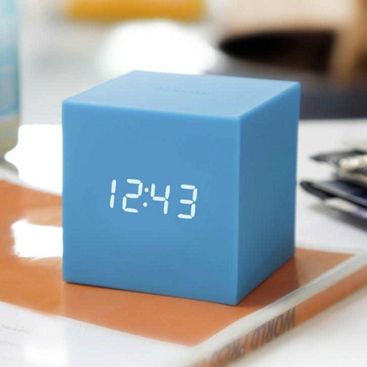 Gravity Cube Click Clock, 7.5cm, Sky Blue