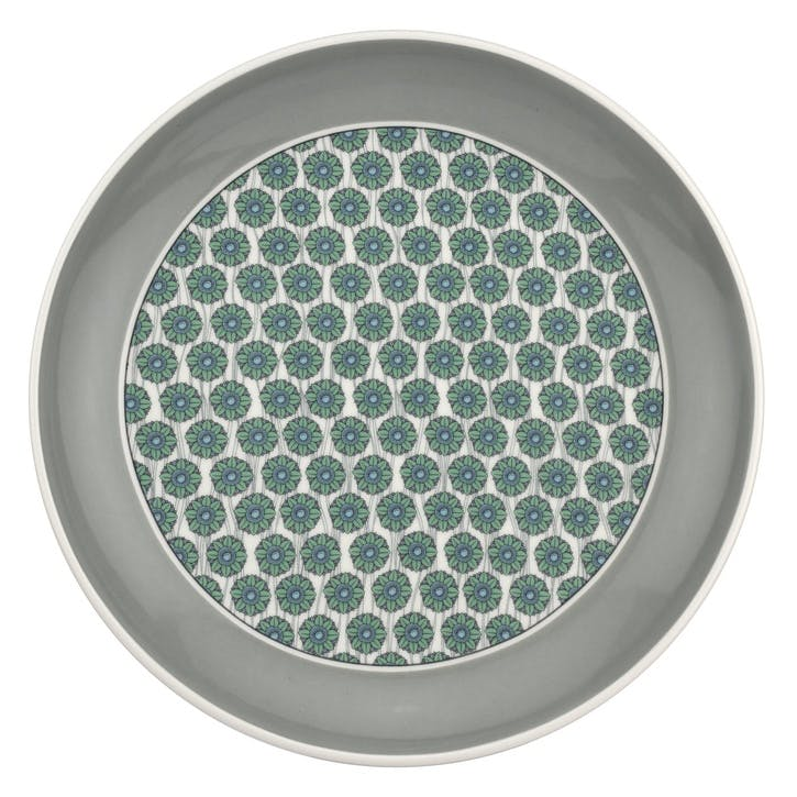 "Westerly Coupe Plate, Set of Four - 8.5""; Grey Band"