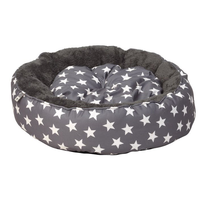 Star Print Donut Cat Bed, Grey