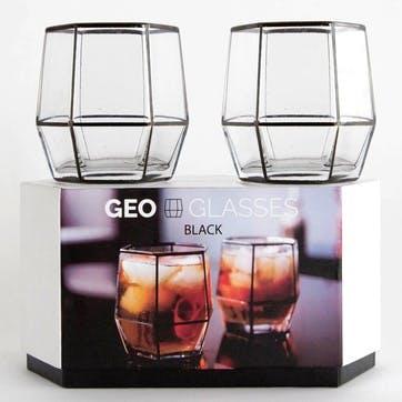 Geo Glasses - 2 Pack; Black
