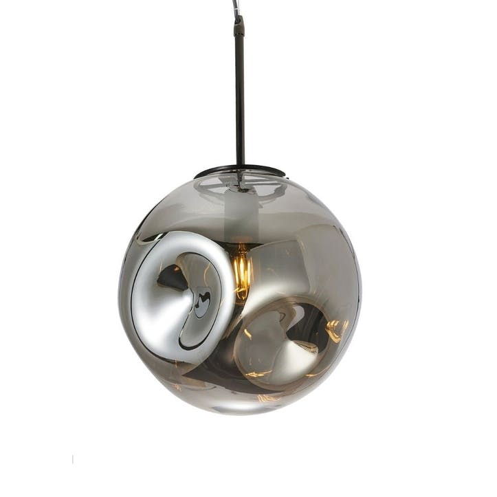 Blown Glass Pendant Lamp, Smokey Grey