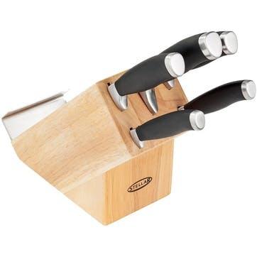 5 Piece Knife Block Set, Natural
