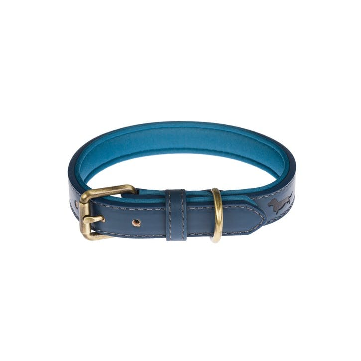Faux Leather Dog Collar, Teal, Medium