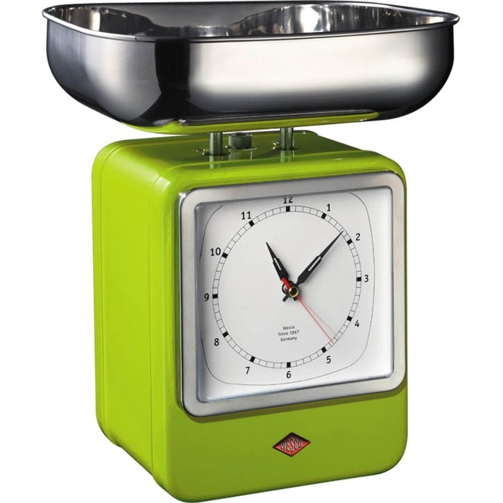 Retro Scale with Clock, Lime Green