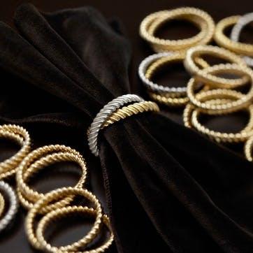 Deco Twist Napkin Rings, Mixed Gold & Platinum, Set of 4