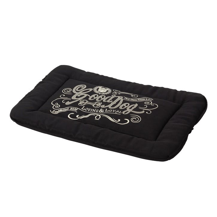 House Of Paws Good Dog Linen Crate Mat - Large; Black