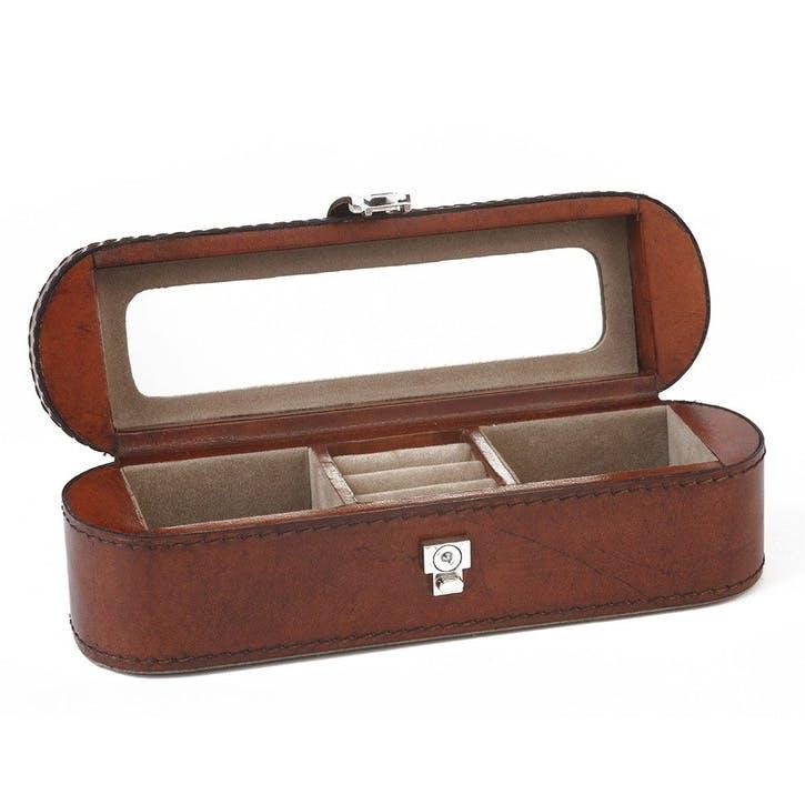 Small Leather Jewellery Box, Tan