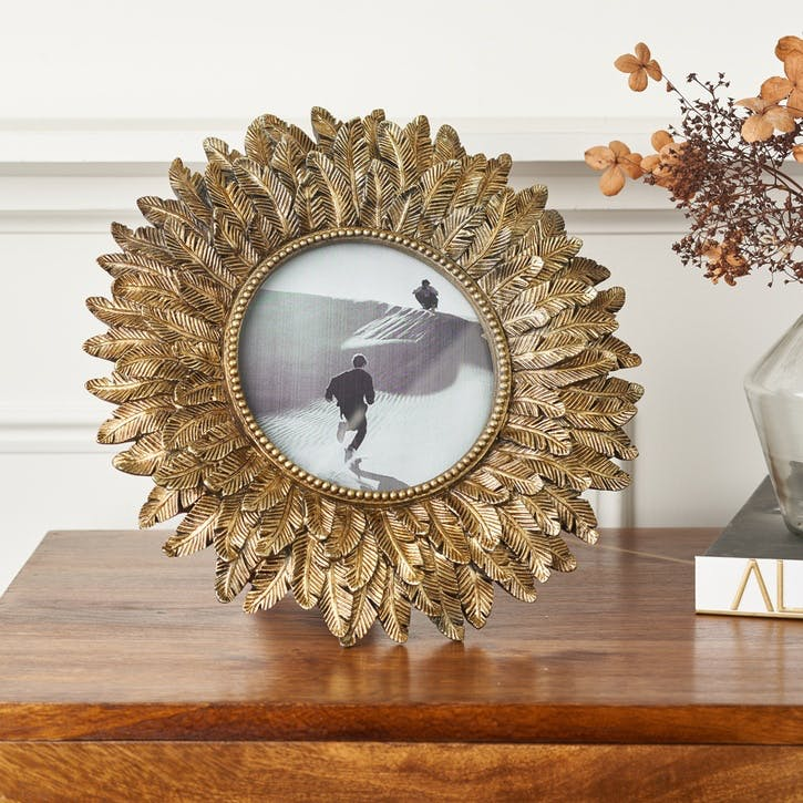 Feather Effect Photo Frame - Large; Gold