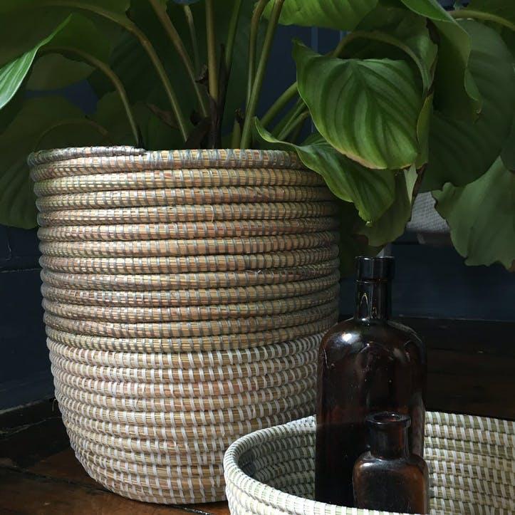 Handwoven Wastepaper Basket, Two Tone Grey