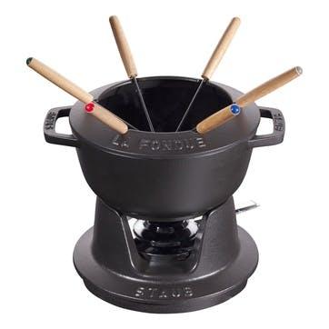Cast Iron Mini Fondue Set, Black
