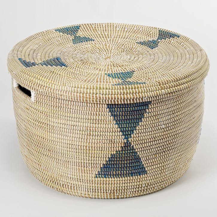 Round Storage Basket, Medium, Natural/ Blue Diamonds