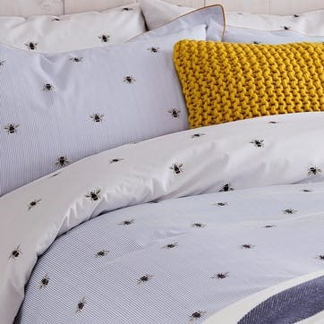 Botanical Bee Oxford Pillowcase, Blue