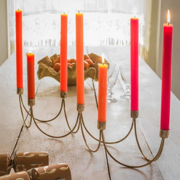Wave Candle Stand, Gold