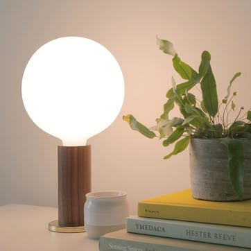 Knuckle Pendant Table Lamp with Sphere Bulb H30 x D15cm Walnut & Brass