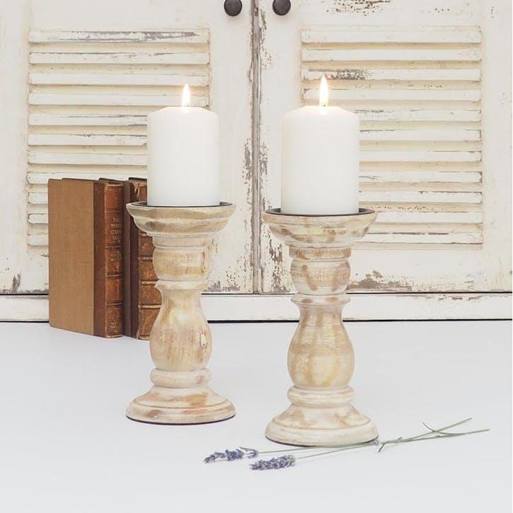 White Wood Candleholder