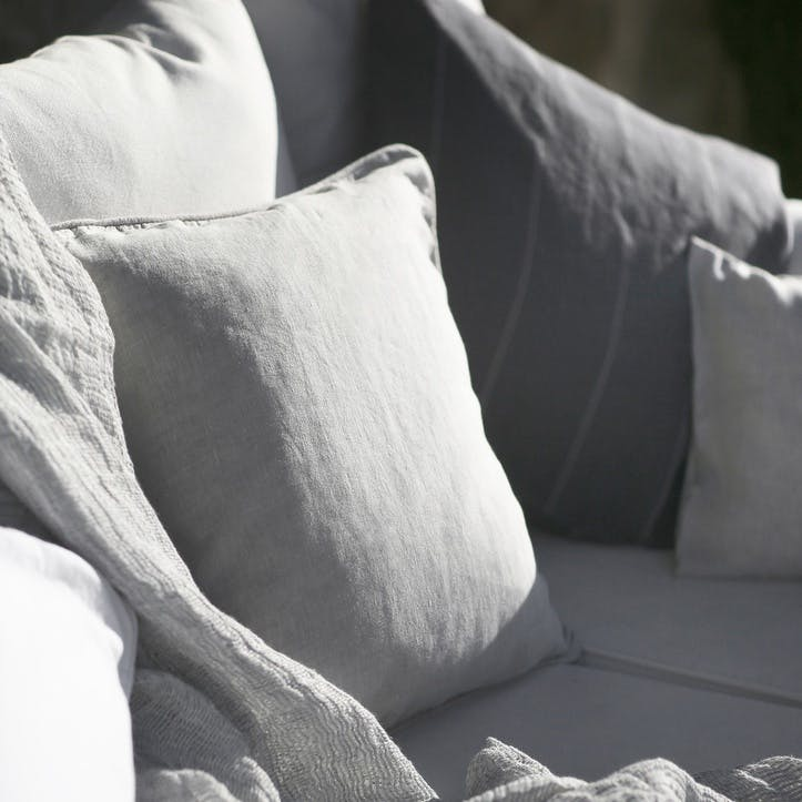 Piped Cushion Cover, Dove Grey
