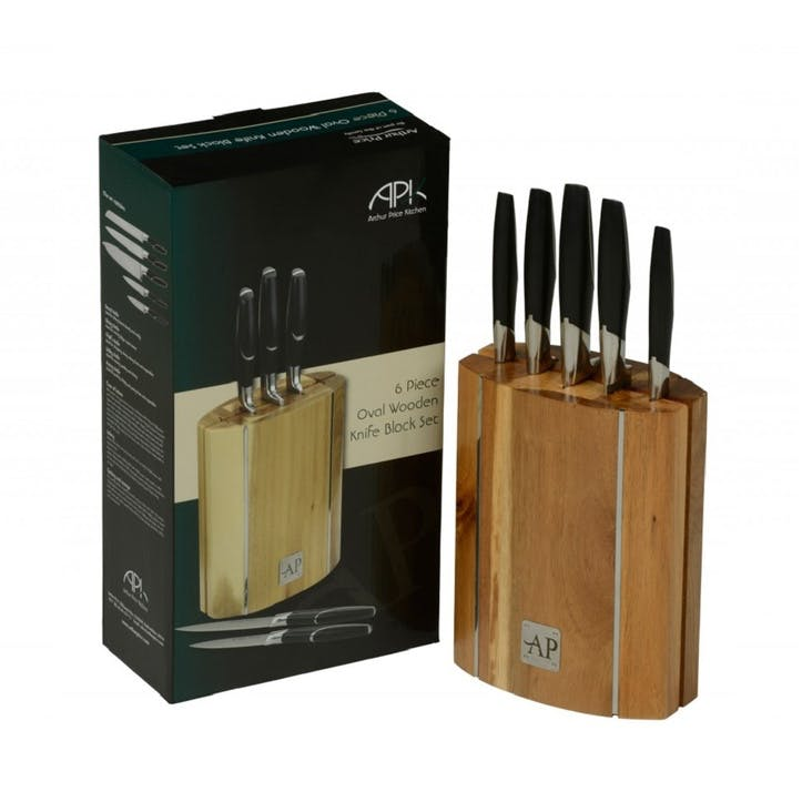 6 Piece Oval Wooden Knife Block Set