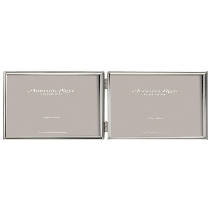 "Double Landscape Fine Photo Frame - 4""x6""; Silver"