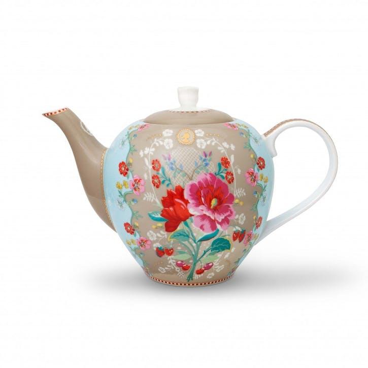 PiP Floral 2.0 Rose Teapot, Khaki