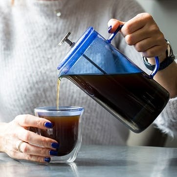 Glass Cafetiere, 8 Cup, Blue