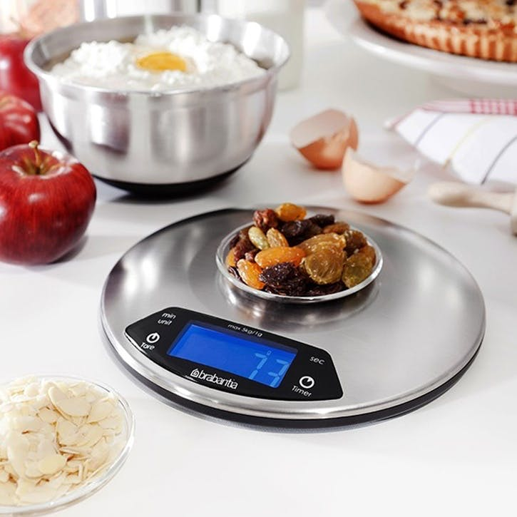 Round Digital Kitchen Scales, Matt Steel